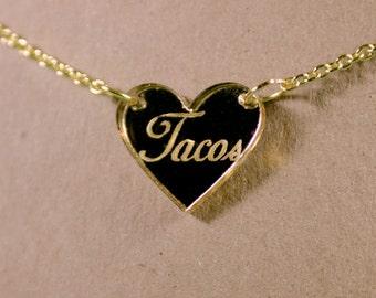 Tacos Heart Gold Mirror Acrylic Necklace