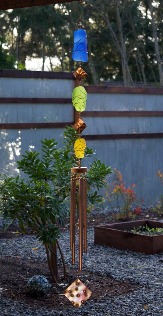 Wind Chime Stained Glass, Sea Glass, Beach Glass, Copper, Handcrafted Windchime