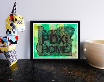 PDX Home Portland Printable, Portland Oregon wall art decor poster, drawing, illustration INSTANT DOWNLOAD, digital home gift
