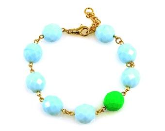 SALE Green Statement Bracelet, Blue Statement Bracelet, Neon Statement Bracelet, Neon Bracelet, Green Bracelet, Blue Bracelet, Neon Jewelry