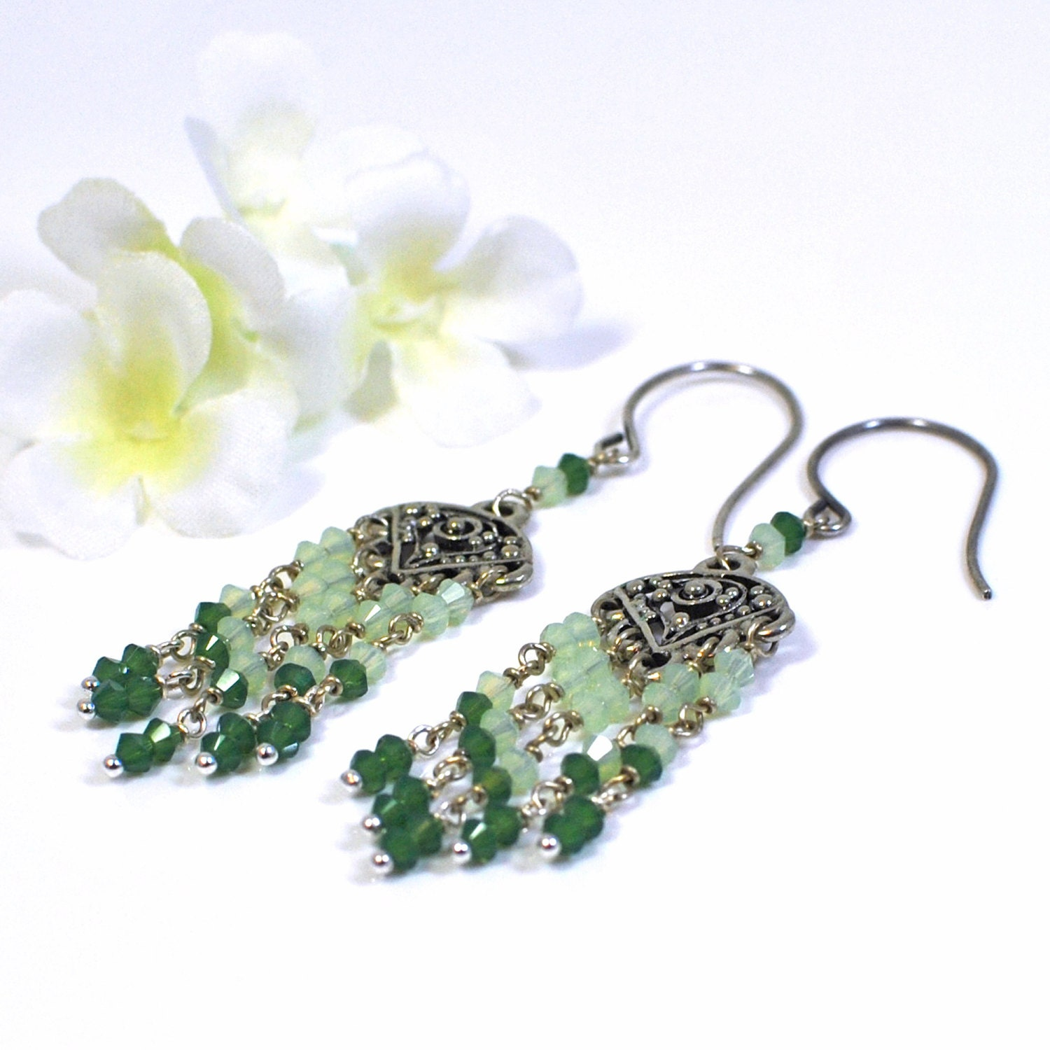 Green Crystal Chandelier Earrings Spring Green by ...