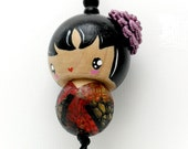 lucky kokeshi doll ornament charm - yuriko