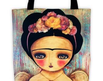 Frida with wings - Reusable fabric tote bag by Danita Art