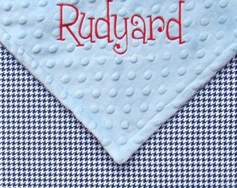Personalized Baby Boy Blanket - Navy Blue and White Houndstooth - Baby Toddler Blanket ,30x36