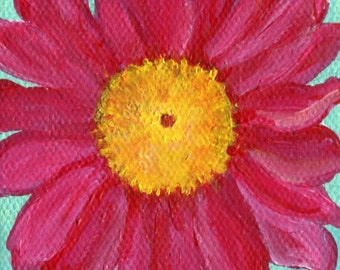 Original pink Daisy painting on mini canvas, Easel, aqua,  flower art, miniature painting, floral painting, floral art, flower painting