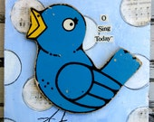 O Sing Today original mixed media Blue Bird art nostalgic vintage puzzle piece nursery kids cheerful painting blue yellow