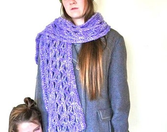 Hand knitted Scarf in Wool and Acrylic Blend Purple with White