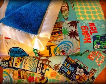 Large PATCHWORK 36 x 46 blanket CUSTOM made on Maui by Happy Honu Maui You Build It