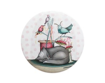Cat Birds pocket mirror - Cats bell jar birds sewing accessories stocking fillers stuffers