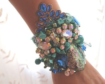 The Maldives Bracelet, Blue, Green, Sea, Mermaid, Vintage Textiles, Beaded, Paua Shell, Abalone, Sparkle, Boho Bracelet, Cuff
