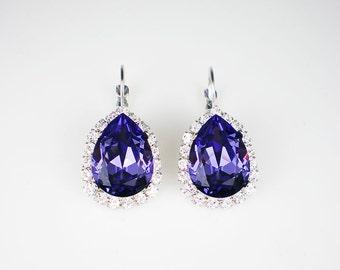 Tanzanite Rhinestone Earrings Violet Purple Swarovski Drop Earrings Wedding Jewelry Bridesmaid Earrings MADE TO ORDER
