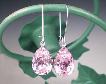 Pale Pink Rhinestone Earrings Wedding Jewelry Bridesmaid Earrings Swarovski Rosaline Pink