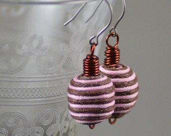 Earrings Featuring Felt Beads in Espresso Brown and Pale Pink