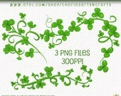 St. Patrick's Day Clip Art, St. Patrick's Day Clover Clip Art, Clover Borders, Digital Borders, Digital Downloads, Digital Art, PNG Digitals
