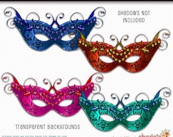 Masquerade Masks Clip Art, Digital Scrapbooking, Beaded Masks Graphics, Digital Art Download, Digital Mask, Masks Clipart, PNG Mask, Clipart