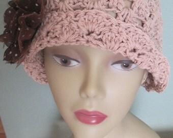 Cloche Hat Sun Cotton Flapper 1920s 20s Rose Beige Taupe Brown Speckled Dot Flower Fedora Knit Crochet Handmade