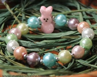 Easter Bunny Peep style pearl bracelet PINK Glitter Bunny Bead bracelets Easter Basket Filler Limited Quantity Easter accessory Easter Gifts