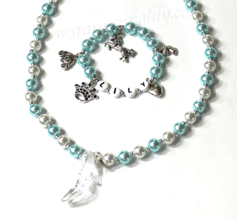 cinderella charm bracelet and necklace set pearl necklace