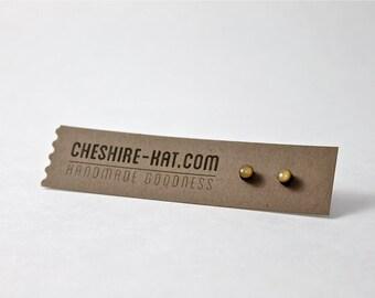 Gold Bamboo & Resin Stud Earrings 5mm