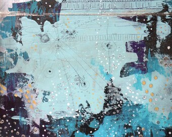 """Abstract Animal Painting , Original Mixed Media Collage Painting. """"We Are All Just Energy"""""""