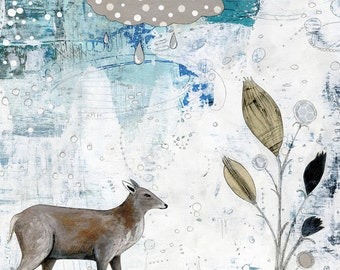 Deer Art Print, Deer and Flower Painting, Canvas Print, Giclee Print , Whimsical Mixed Media Collage Art , Woodland Home Decor
