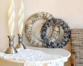 Wool Wreaths Set of 2 Plaid Wool & Selvedge Simple Minimalist Gray Neutral Colors