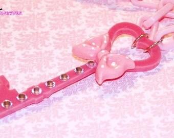 Pink Key to my Heart Rhinestone Necklace