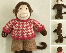 Knitted Toy knitting pattern for a boy monkey with a houndstooth sweater