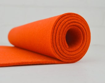 "3mm Wool Felt - Thick Wool Felt - 100% Wool Felt - Pure Wool Felt - Wool Felt Sheets - Orange - 3mm thick 12""x36"""