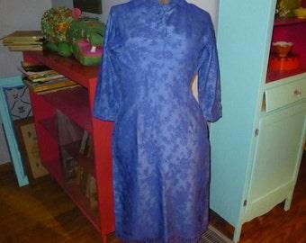 Vintage 50s Blue Lace Rockabilly Wiggle Party Dress