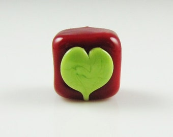 Red and Green Heart Big Hole Lampwork Glass Spacer Bead