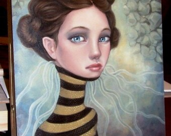 Medusa - ORIGINAL oil painting - surreal pop fantasy art - stripes - stone wall - goddess spiritual - lowbrow art portrait by Tanya Bond