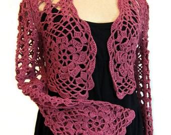 Raspberry shrug, wrap, crochet shrug, knit shrug, lace, stole, shawl, lace cardigan, long sleeves, bolero, crochet sweater, women's clothing