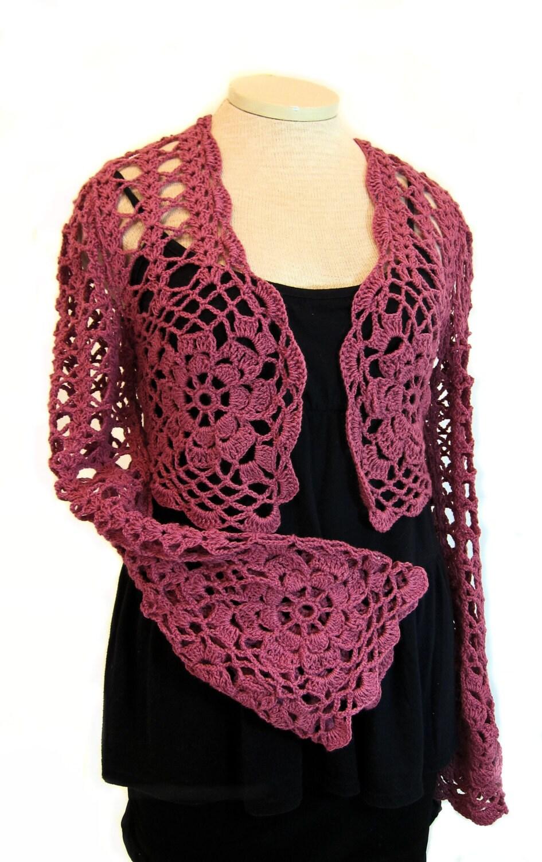 Long Sleeved Shrug Knitting Pattern : Raspberry shrug wrap crochet shrug knit shrug lace stole