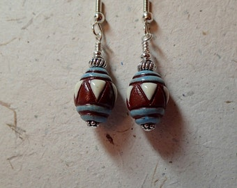 Ceramic Bead Earrings Brown and Blue using Golem Bulgarian  Beads on silver