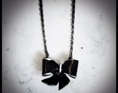 Black Bow Upcycled Necklace, bowtie necklace, valentine's day gift, black and white, black tie, girly, goth, boho