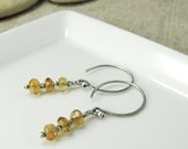 Three-Stone Earrings with Vivid Golden Citrine
