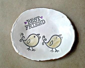 Ceramic Trinket Bowl  Best friend