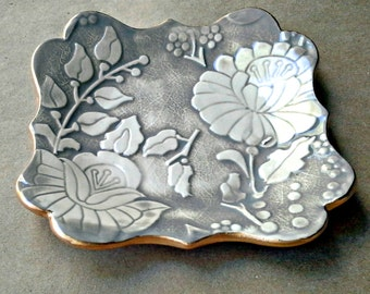 Taupe Damask jewelry dish trinket dish edged in gold