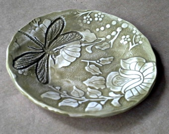 Ceramic Spoon Rest spoon holder spoon dish with dragonfly Avocado green