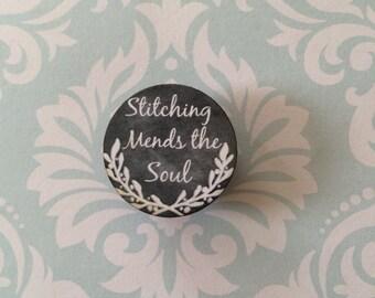 stitching mends the soul chalk art style needleminder magnetized needle minder