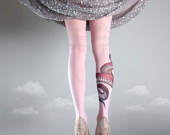 NEW light pink one size Snake full length printed tights closed toe pantyhose tattoo tights by tattoo socks