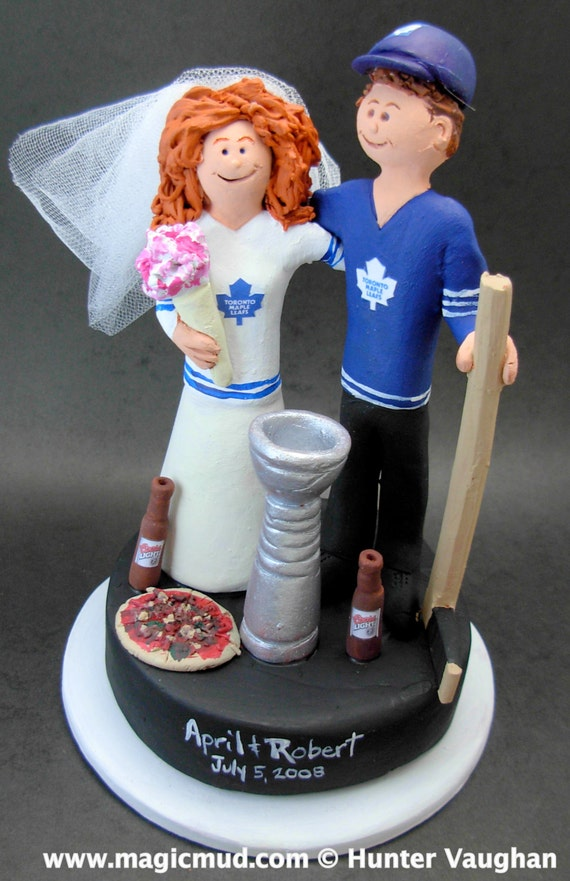 Toronto Maple Leafs Hockey Wedding Cake Topper Hockey