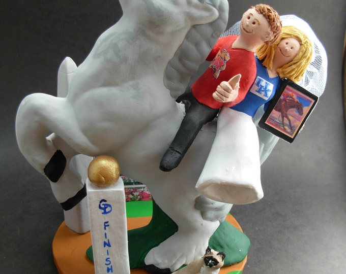 Horseback Riders / Equestrian Wedding Cake Topper, Bride and Groom on Horseback Wedding Cake Topper, Race Horse Wedding Cake Topper