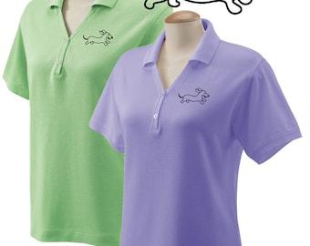 Ladies Embroidered Dachshund Wahoo Wiener Polo Shirt