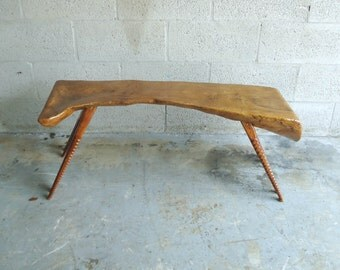 Vintage Modern Live Edge Tree Trunk Table or Bench