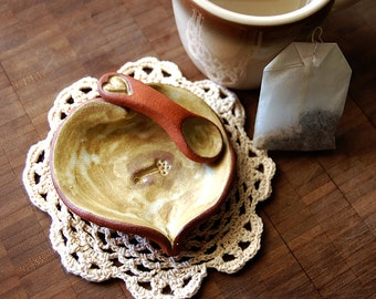 Open / Spring Tone Ceramic Open Heart Trinket Dish/Wall Decoration and Spoon