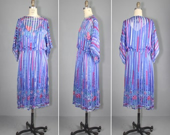 silk dress / 1970s dress / sheer / ELDERFLOWER vintage icinoo dress
