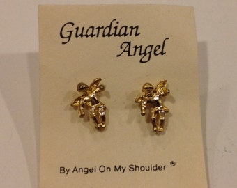 Vintage oldstock guardians angel stud Goldtone earring set made by angels on my shoulder
