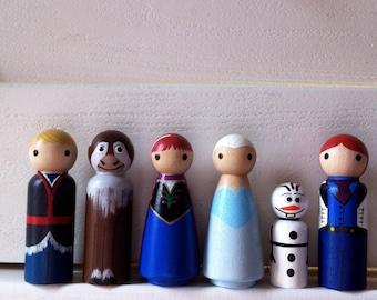 Frozen Full set of 6- Olaf, Princess Anna, and Queen Elsa, Hans, Kristoff, Sven -  Pegbuddies Wood Peg Doll Peg People Birthday Cake Topper